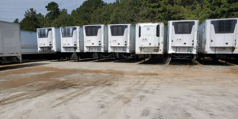 Exterior of dock level trailers in lot